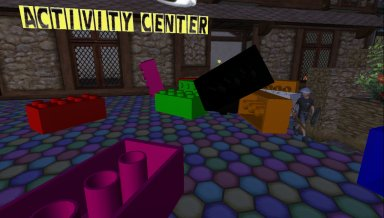 adz dodging falling Legos at kids5b